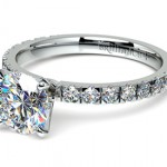 Petite Pave Diamond Ring in Platinum