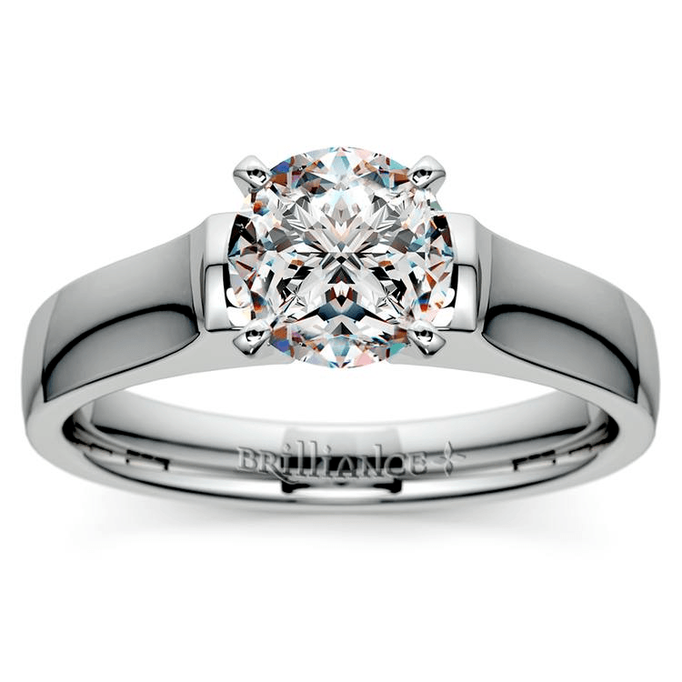 Square Contour Solitaire Engagement Ring in Palladium