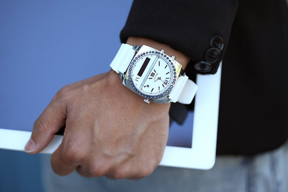 White wrist watch with sapphire