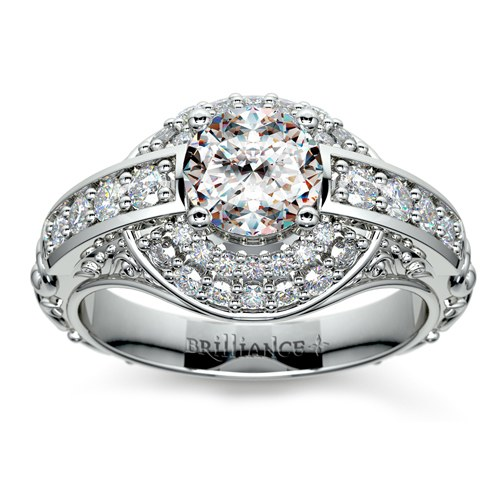 Halo Diamond Ring in Platinum