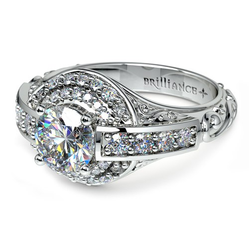 antique halo diamond ring 3 - Hypoallergenic Wedding Rings
