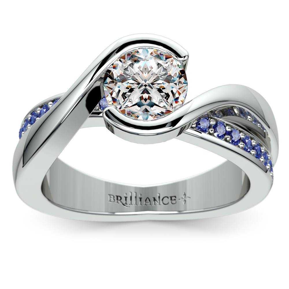 Bezel Sapphire Gemstone Bridge Ring