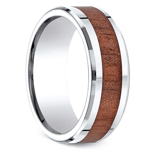 Rosewood Inlay Men's Wedding Ring in Cobalt