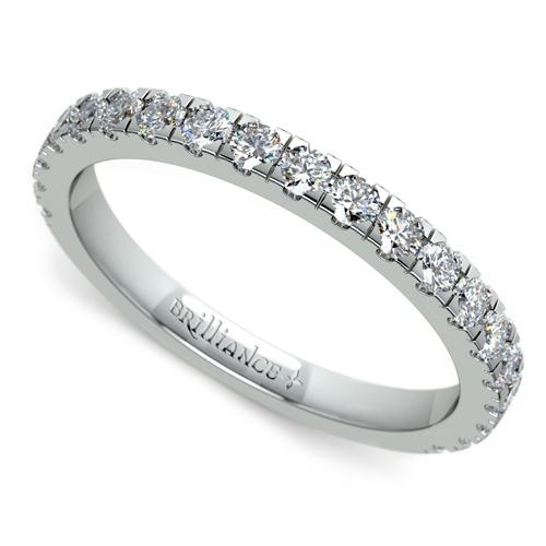 Petite Pave Diamond Wedding Ring in White Gold