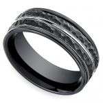 Hammered Men's Wedding Ring in Blackened Cobalt