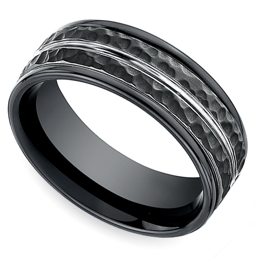 Blackened Mens Wedding Ring With Rose Gold