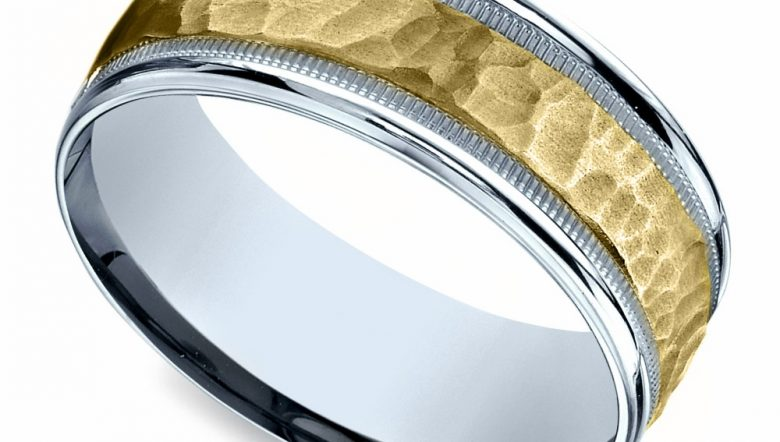 Hammered Mens Wedding Ring in White Yellow Gold