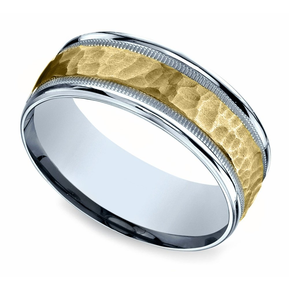 Hammered Men S Wedding Ring In White Amp Yellow Gold