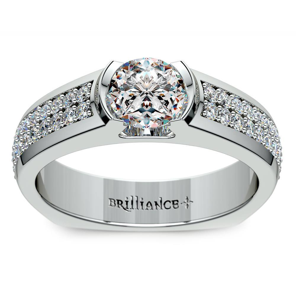 Pave Diamond Euro Shank Ring in White Gold