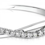 Swirl Diamond Bangle Bracelet in White Gold