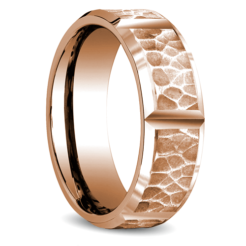 Hammered Men's Band in rose Gold