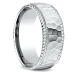 Hammered Rope Edging Men's Wedding Ring in White Gold