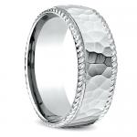 Hammered Rope Edging Men's Wedding Ring in White Gold