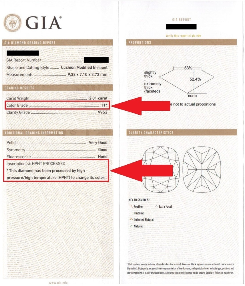 Sample GIA Report with HPHT Diamond