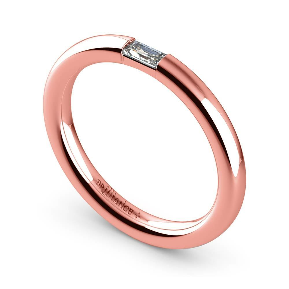 Baguette Diamond Promise Ring in Rose Gold
