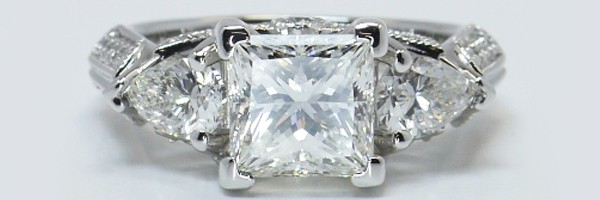 Three Stone Milgrain Diamond Ring in Platinum