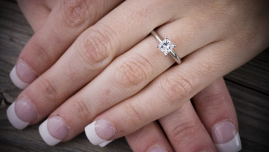 A Princess Diamond shape is great on short fingers!