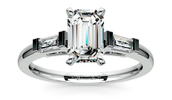 Radiant Diamond Engagement Ring with Two Tapered Baguette Diamonds