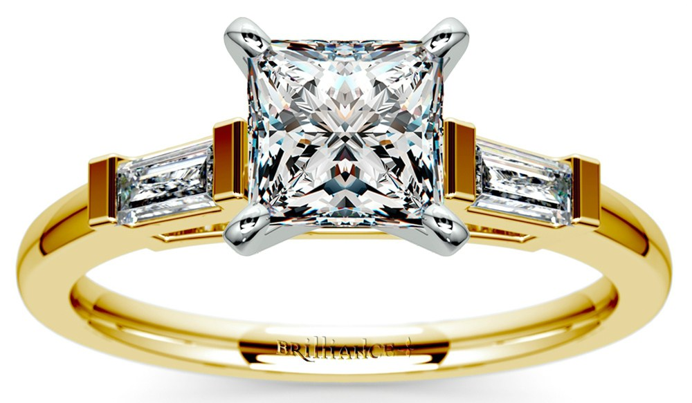 Diamond Engagement Ring with Princess and Baguette Cut Diamonds
