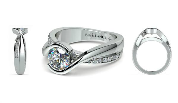 Bezel Diamond Bridge Engagement Ring in White Gold