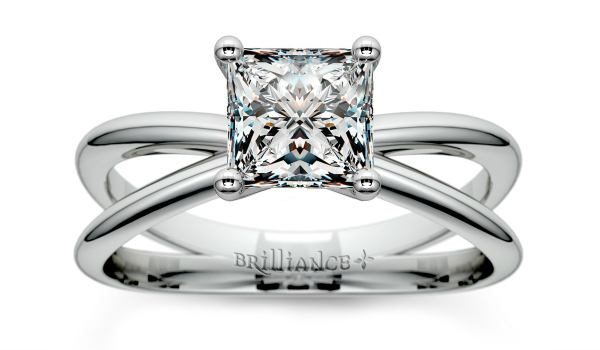 Cross Split Shank Solitaire Princess Engagement Ring in White Gold