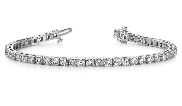 Diamond Tennis Bracelet with Box Catch and Hidden Safety Latch
