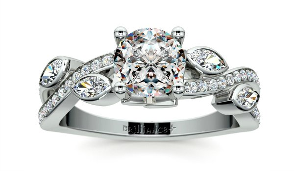Twisted Petal Diamond Engagement Ring in Platinum