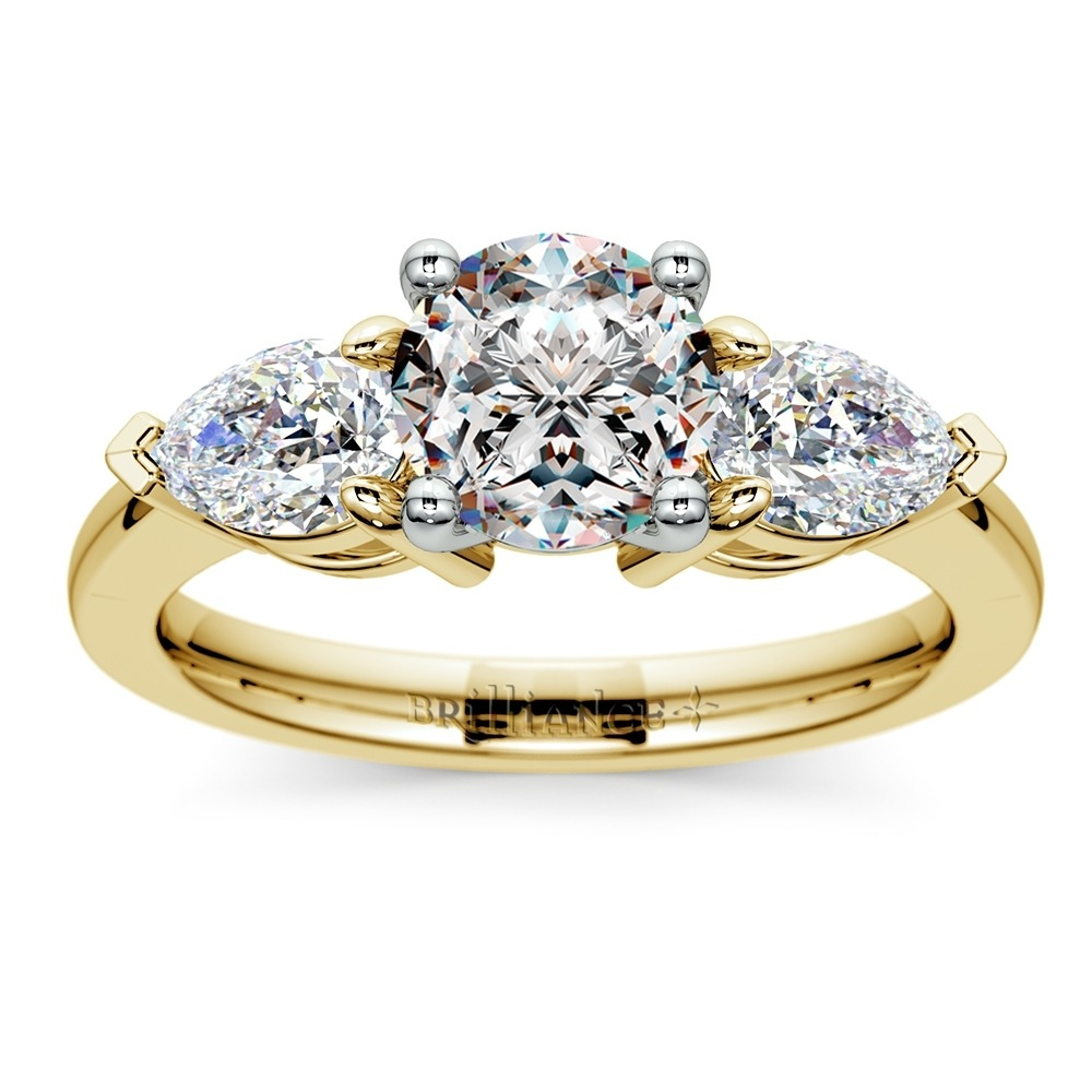 Diamond Engagement Ring with Two Pear Cut Side Stones in Yellow Gold