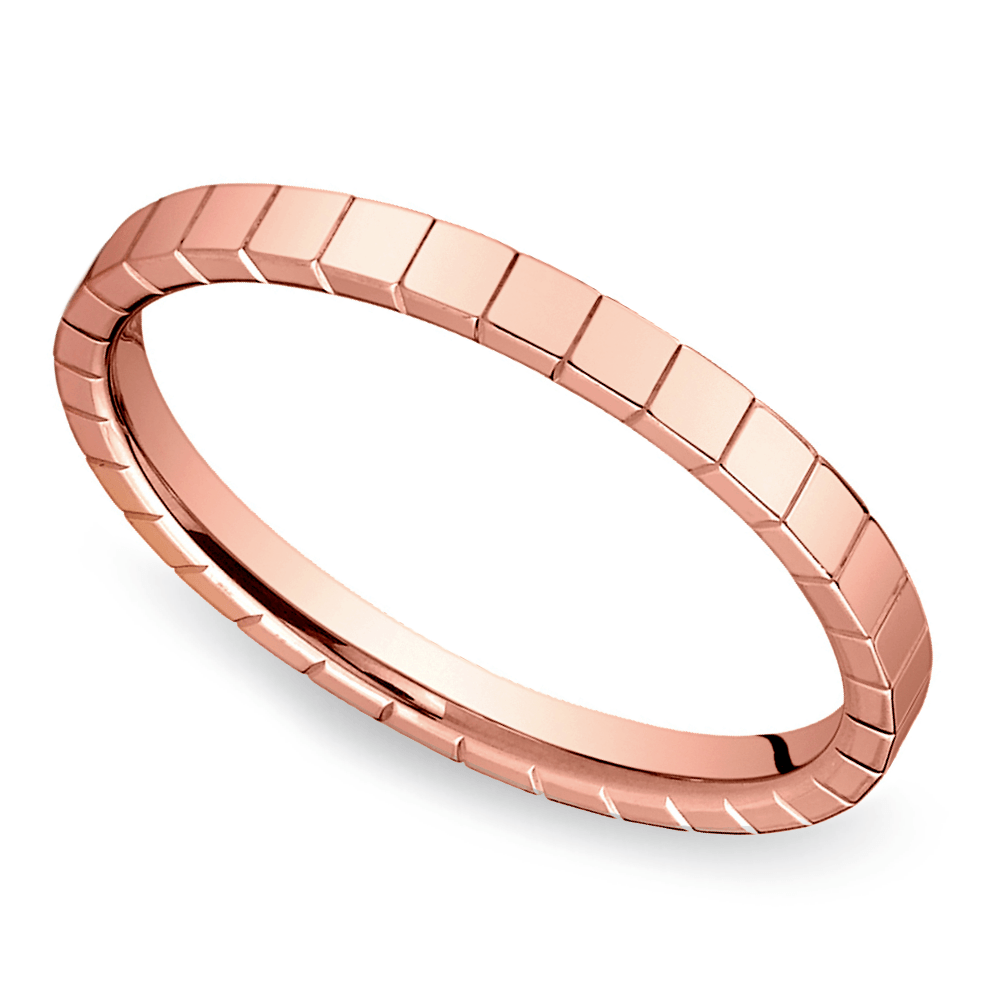 Carved Wedding Ring in Rose Gold