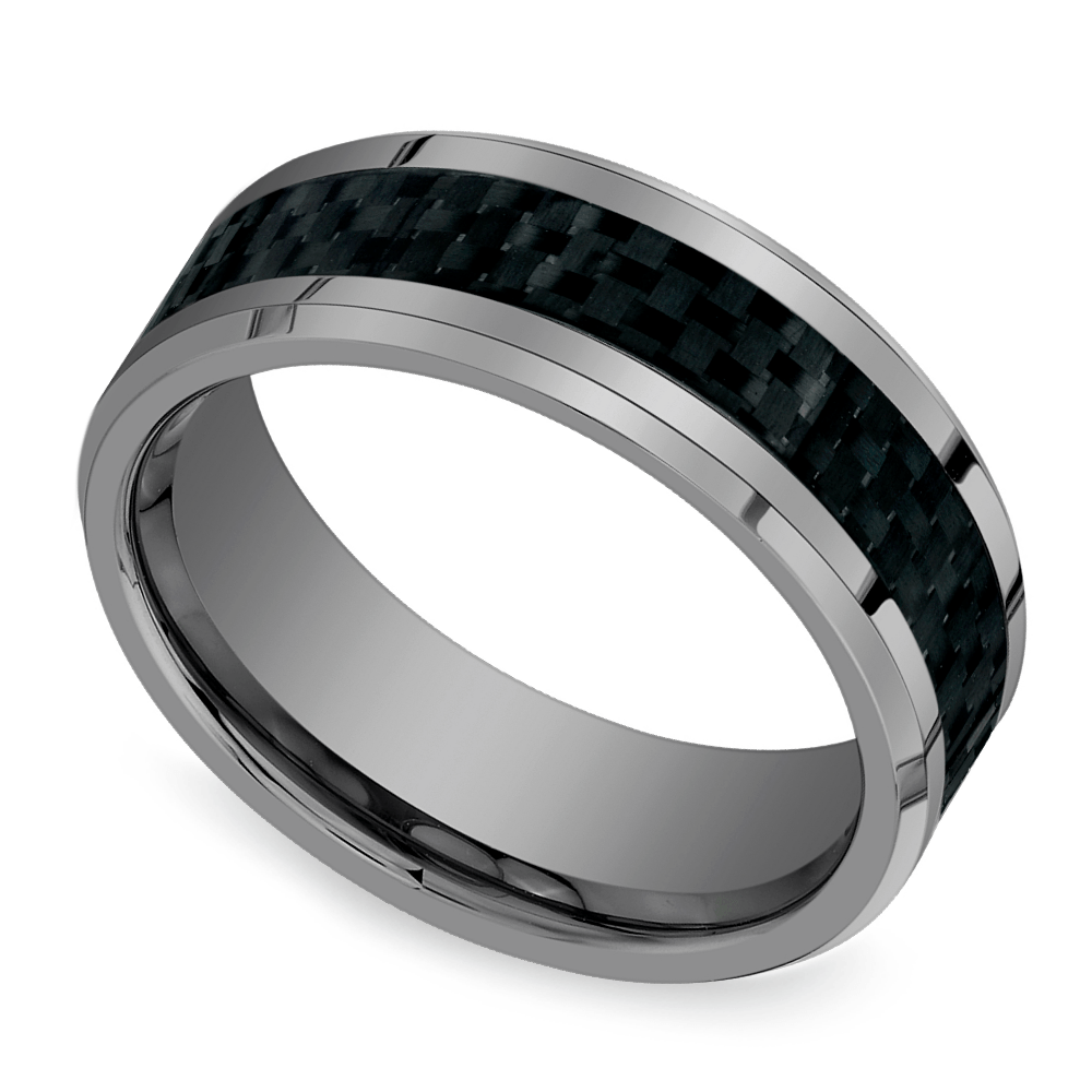 Beveled Carbon Fiber Inlay Men's Wedding Ring