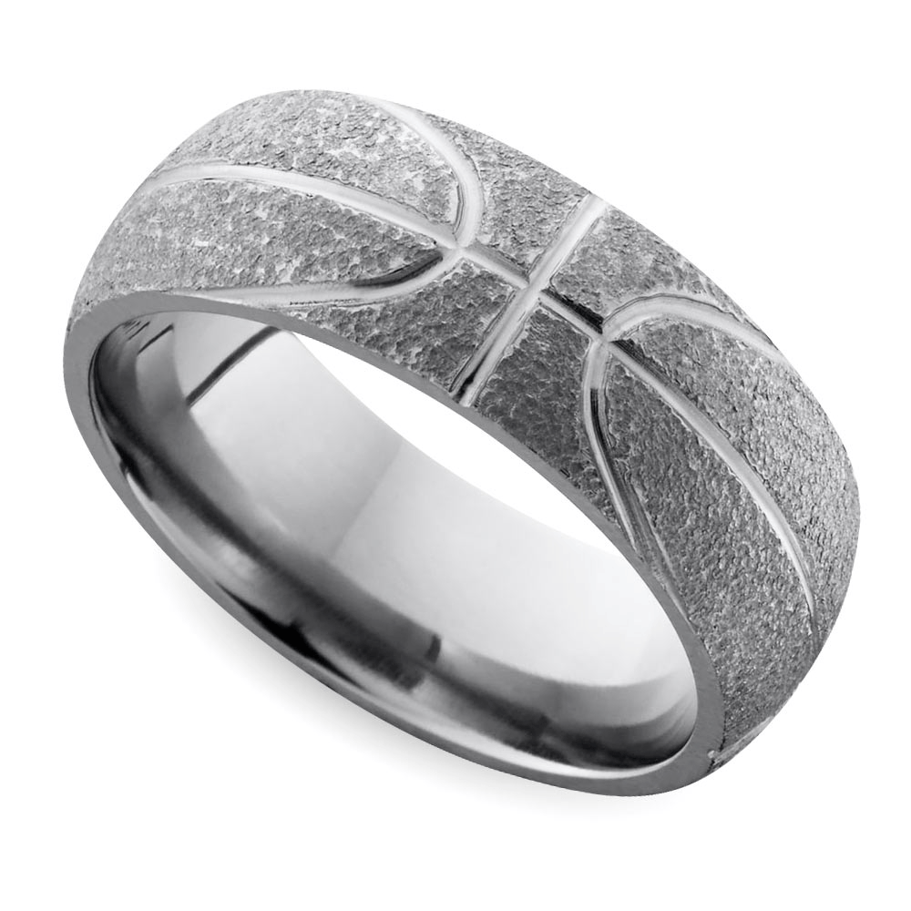 This basketball wedding band is perfect for a March Madness wedding!
