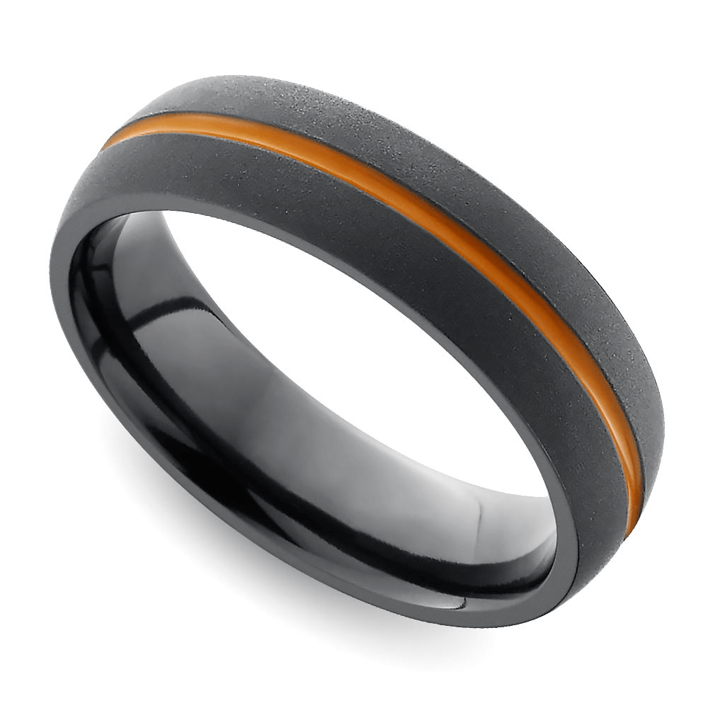 Men's sport wedding bands also can flaunt his team's colors! This 'spirit wear' also seals the vows with his fandom