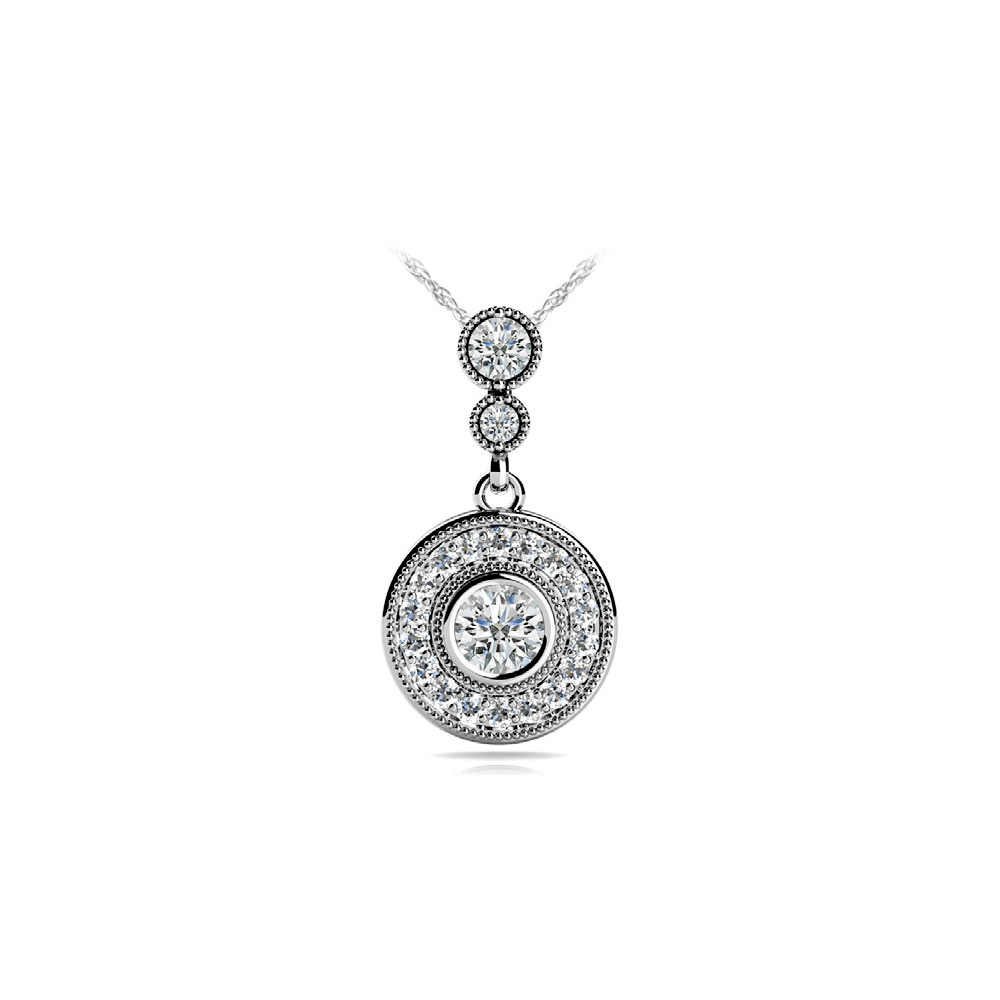 Milgrain Diamond Dangle Pendant in White Gold