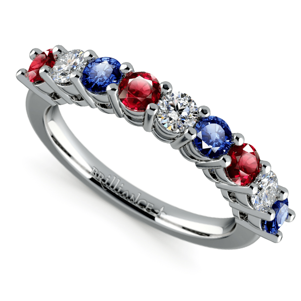 Diamond, Sapphire and Ruby Ring