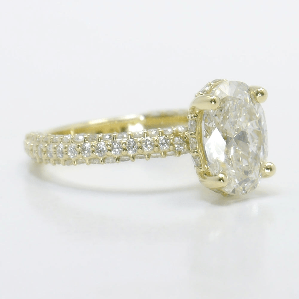 Three-Sided Pave Diamond Ring with Tulip Setting