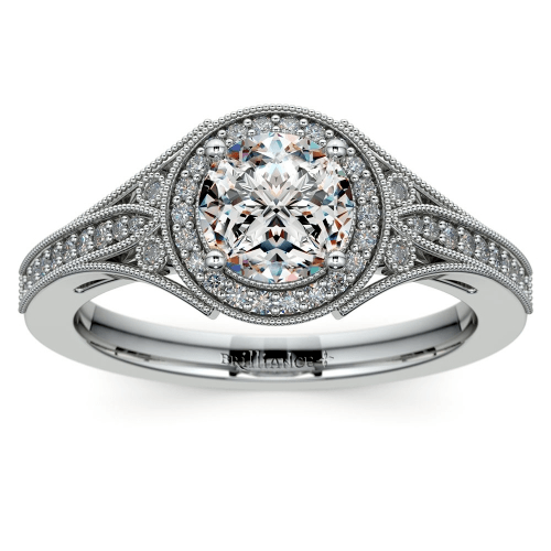 Art Deco Halo Diamond Engagement Ring in Platinum