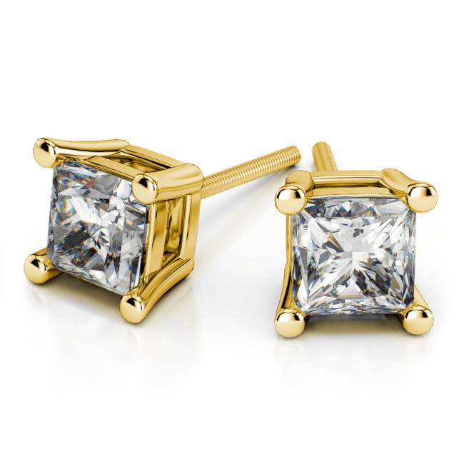 Princess Diamond Stud Earrings in Yellow Gold