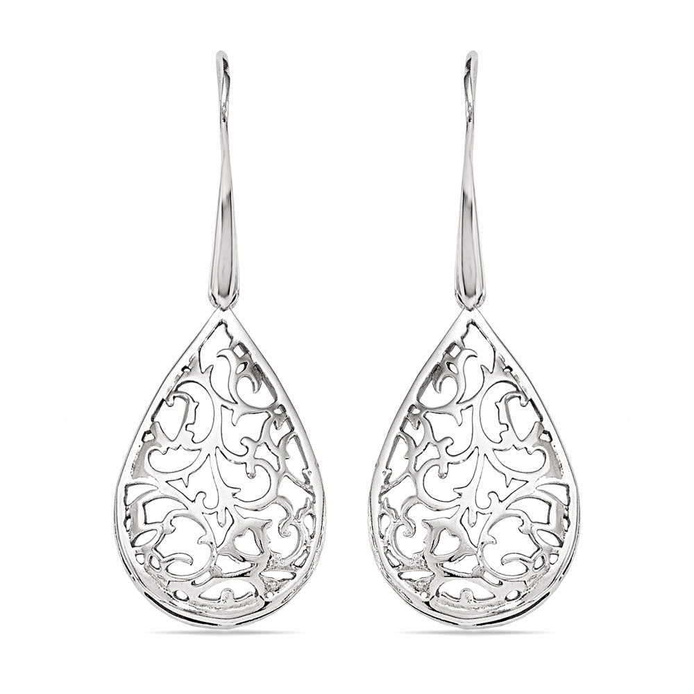 Paisley Filigree Teardrop Dangle Earrings in Silver