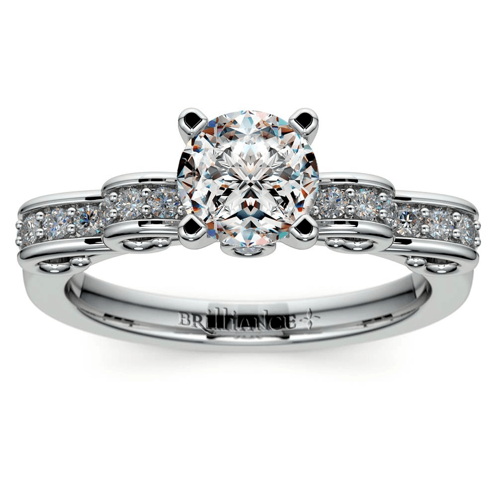 Cinderella Ribbon Diamond Engagement Ring in White Gold