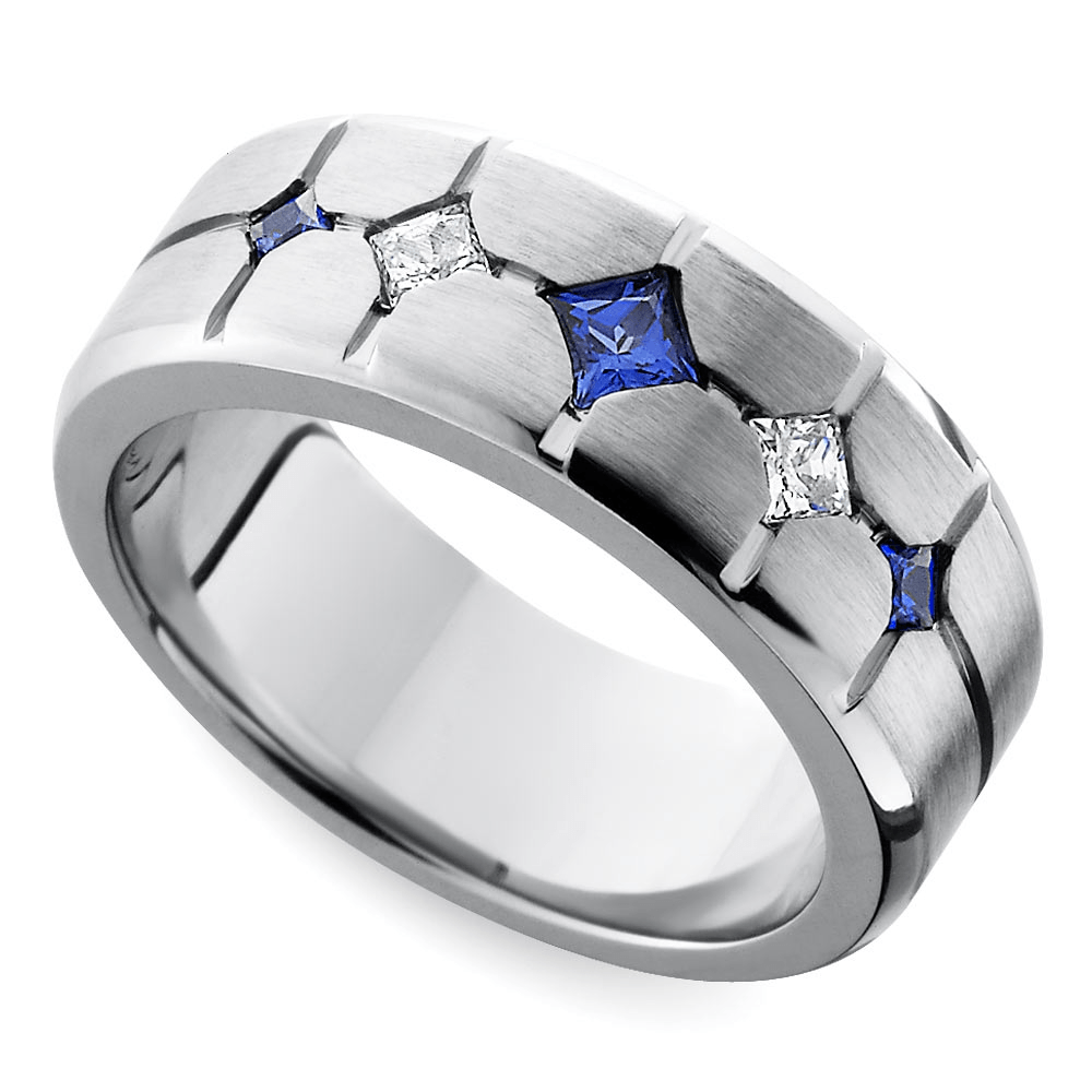 Cross Cut Satin Sapphire Diamond Men's Band in Cobalt