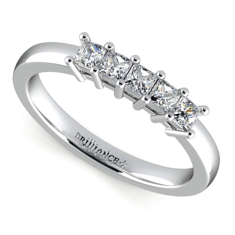 Princess Five Diamond Wedding Ring in White Gold