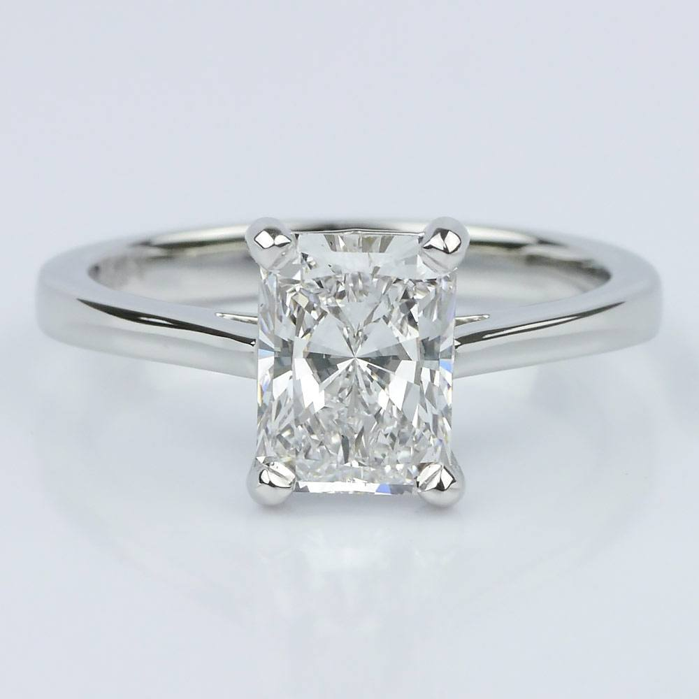 Petite Cathedral Radiant Solitaire Engagement Ring
