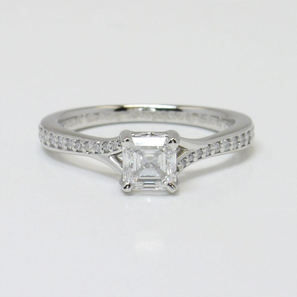 Split Shank Micropave Asscher Cut Engagement Ring