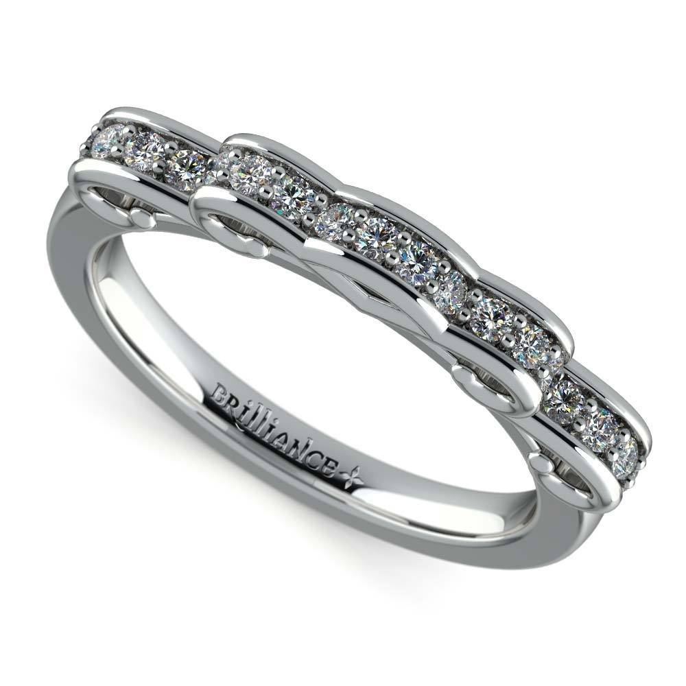 Cinderella Ribbon Diamond Wedding Ring in White Gold