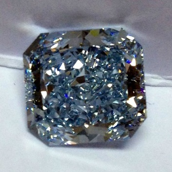 4.26 carat intense blue square radiant