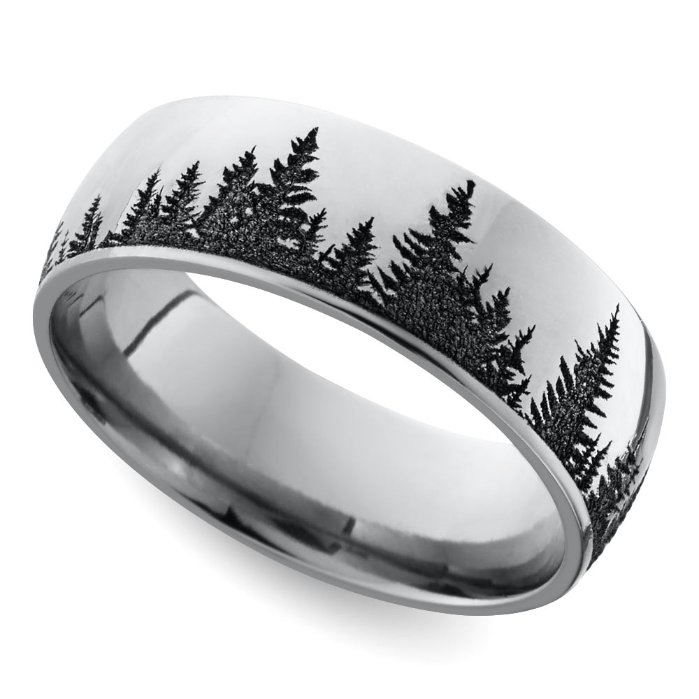 Laser Carved Forest Pattern Men S Wedding Ring In Cobalt