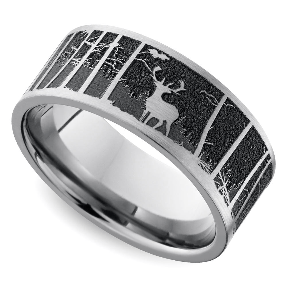Laser Carved Mountain Themed Mens Wedding Ring In Titanium
