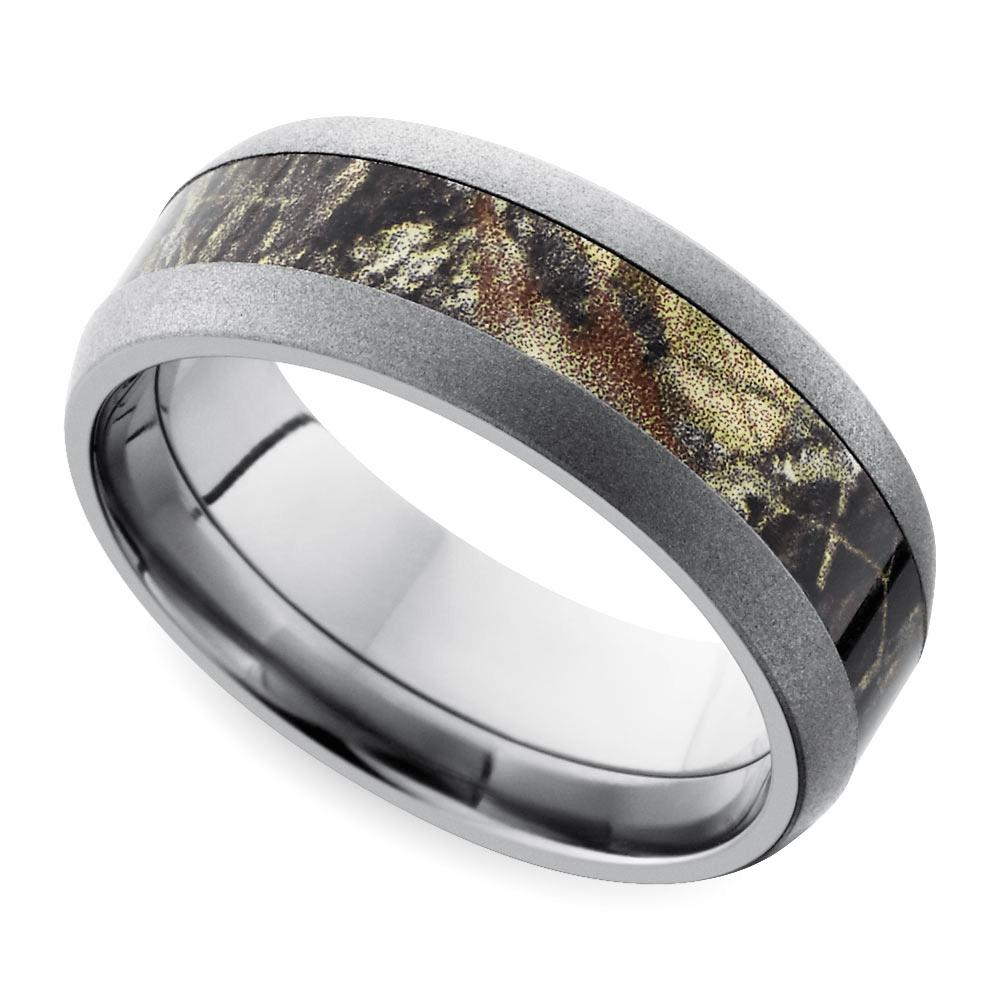Beadblast Domed Camouflage Inlay Mens Wedding Ring In Titanium