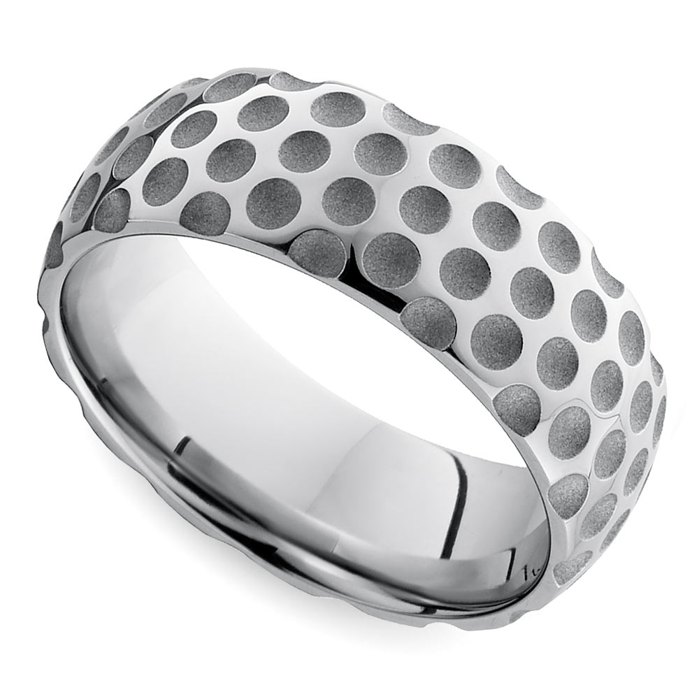 Mixed Finish GolfBall Pattern Men's Wedding Ring in Cobalt