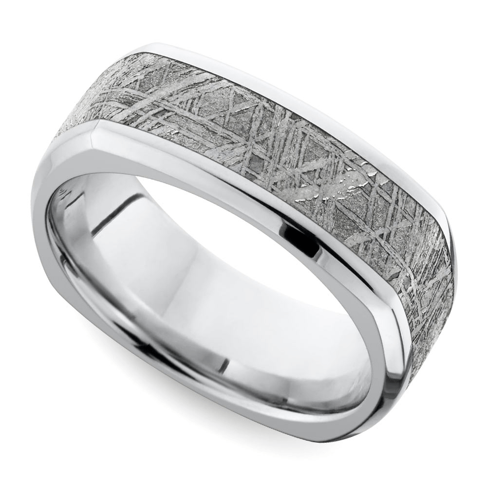 Square Beveled Men's Wedding Ring With Meteorite Inlay in Cobalt